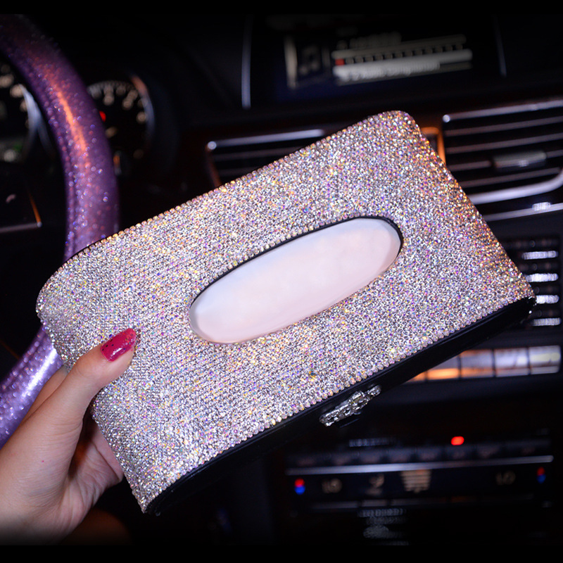 Luxury Leather Car Tissue Box Cover Crystal Rhinestone Block Paper Storage Box Swan Crown Car Accessories For Women Girls ...