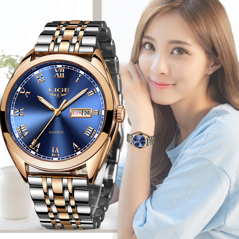 2019 LIGE New Rose Gold Women Watch Business Quartz Watch Ladies Top Brand Luxury Female Wrist Watch Girl Clock Relogio Feminin