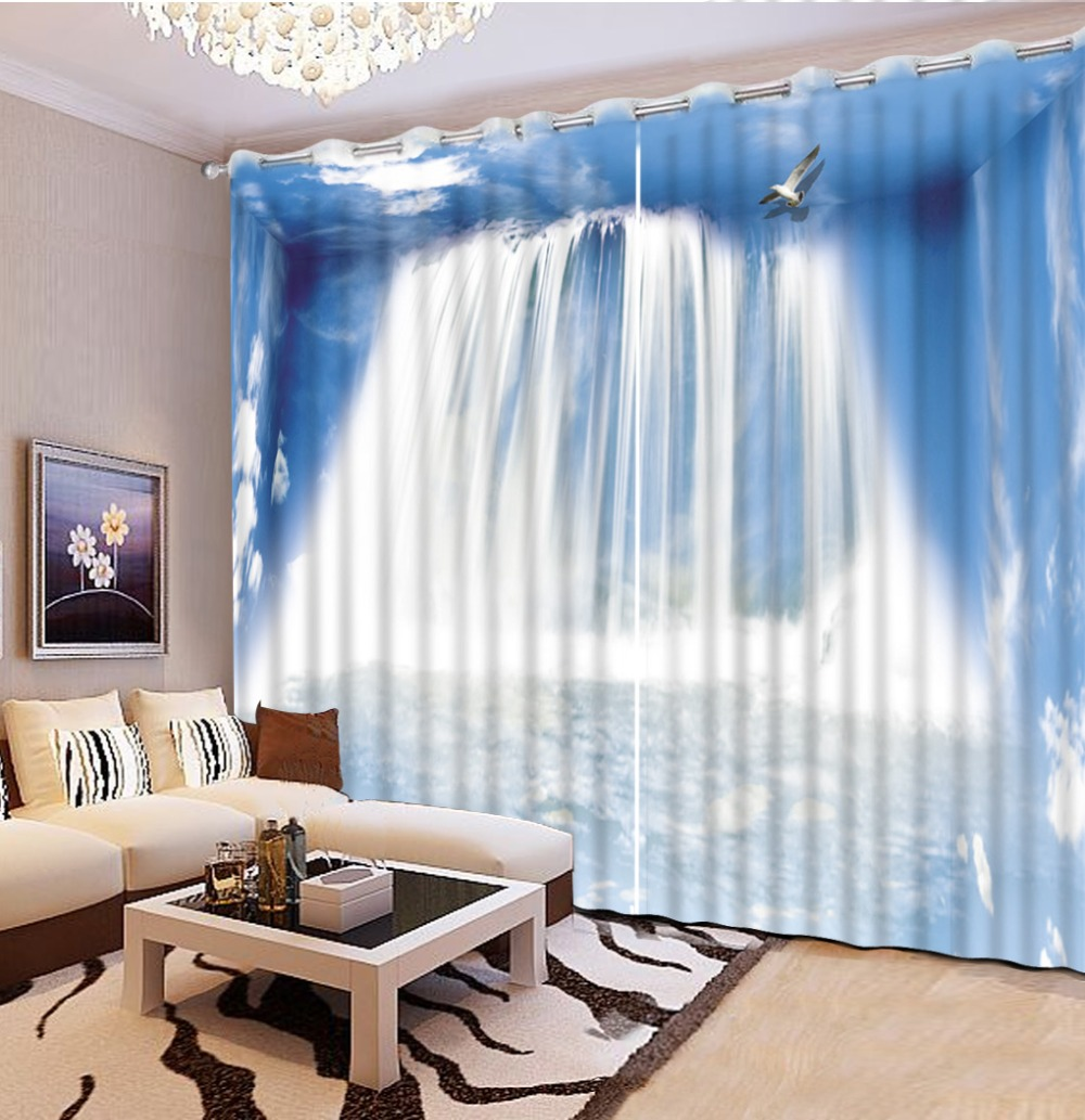 Modern waterfalls Kitchen Window Curtains Print Living Room Curtains ...