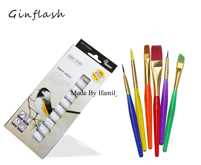 6ml*12color professional Textile Fabric Paint set Non Toxic Tube acrylic paint for artists with 6 paint brush cloth painting 6ml 12color professional textile fabric paint set non toxic acrylic paint art set offer paint brush cloth wall painting