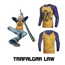 цены на Japanese Anime ONE PIECE Law Fitness Men Top Tee Long Sleeve 3D Print Cartoon T shirt Compression Sports Muscle Casual Tops  в интернет-магазинах