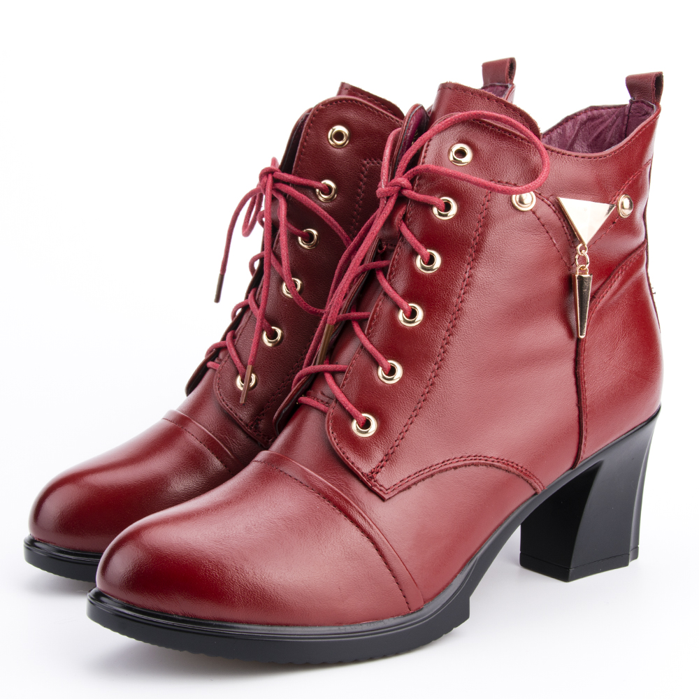 Ylqp 2018 Women Fashion Casual Genuine Leather Shoes Female Autumn Winter Platform Ankle Boots Woman Lace Up High-heeled Boots leather in the boots 2017 autumn and winter new fashion waterproof taiwan with rivets leather pointed high heeled female shoes