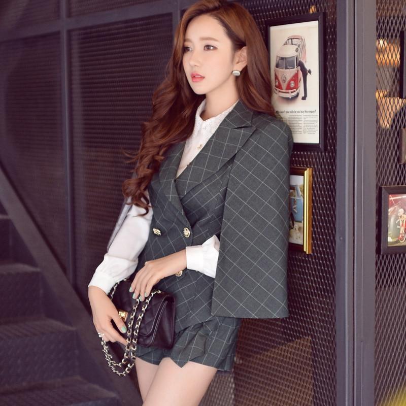 008e35401f dabuwawa autumn winter OL cloak jacket fashion trun down collar office  blazer women pink doll-in Blazers from Women's Clothing & Accessories