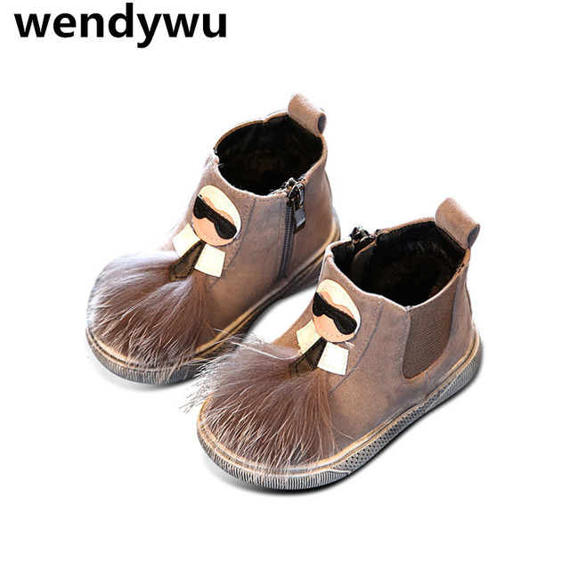 WENDYWU winter pu leather shoes for children gray fur boots baby girls fashion warm boots toddler brand ankle boots black