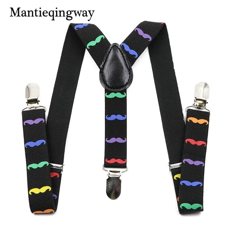 Mantieqingway Beards Suspenders for Children Y-shape Elatic Belt Strap Braces for Boys and Girls 3 Clip Buckle Suspenders