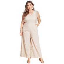 kimuise sexy v neck rompers female jumpsuits wide leg lace plus size 4XL bodysuits overalls summer pockets women jumpsuit