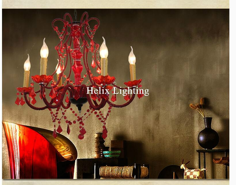 Newly Red Art Decorative Red Color Chandelier Living Room Candle Lamps luxury Acrylic Crystal Chandelier Lights AC D56cm