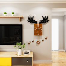 3D Deer Antlers Creative Swingable Large Wall Clock Modern Design Acrylic Wood Grain Color Rectangle Hanging Clocks Wall Sticker deer 3d wall sticker
