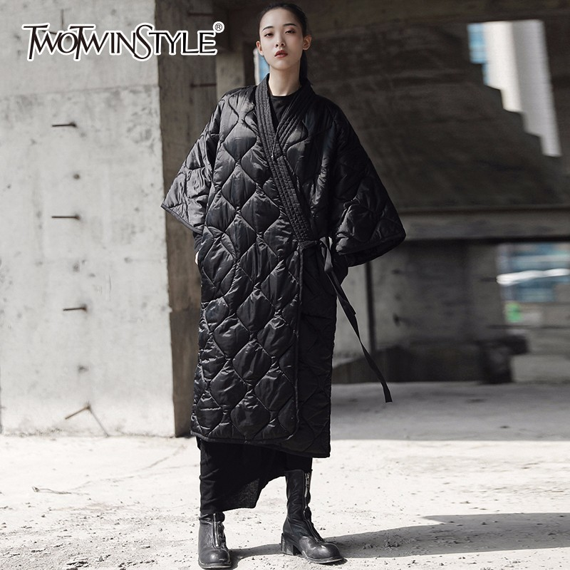 TWOTWINSTYLE Lace Up Cotton Coats For Women Three Quarter Sleeve Black Midi Long Coat Winter Female