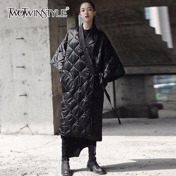 TWOTWINSTYLE de abrigos de algodón para las mujeres de manga tres ...