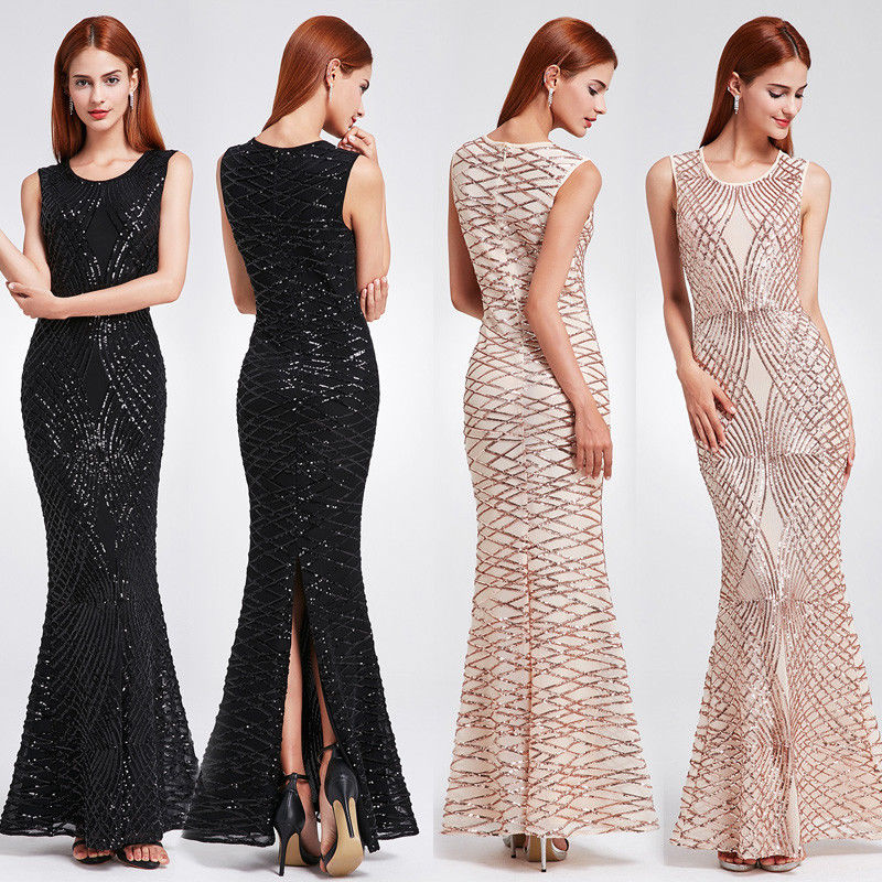 2018 New Elegant Mermaid   Prom     Dresses   Ever Pretty EP07135 Women Chic Gegerous Evening   Dresses   With Sparkling Sequins   Dresses