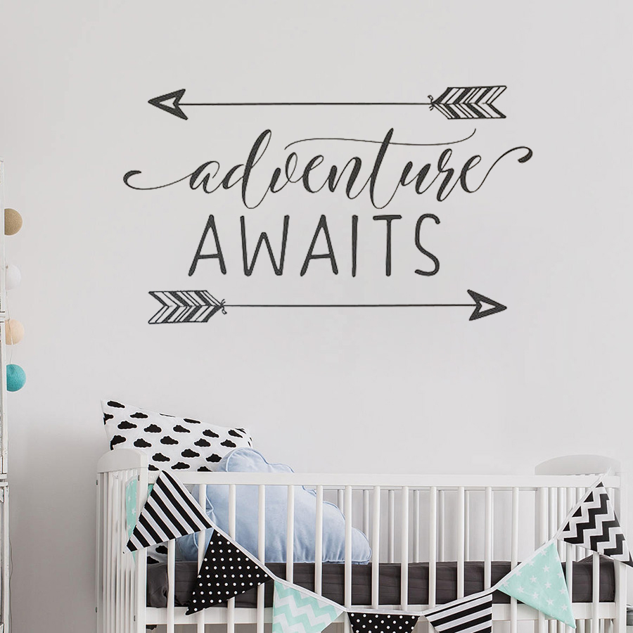 Us 4 98 15 Off Adventure Awaits Vinyl Wall Decal Art Nursery Quote Removable Sticker Arrows Explorer Nature Modern Decorate S463 In