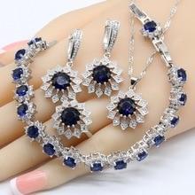 Flower Shape Blue Crystal White Zirconia 925 Silver Bridal Jewelry Sets For Women Necklace Pendant Earrings Rings Bracelets