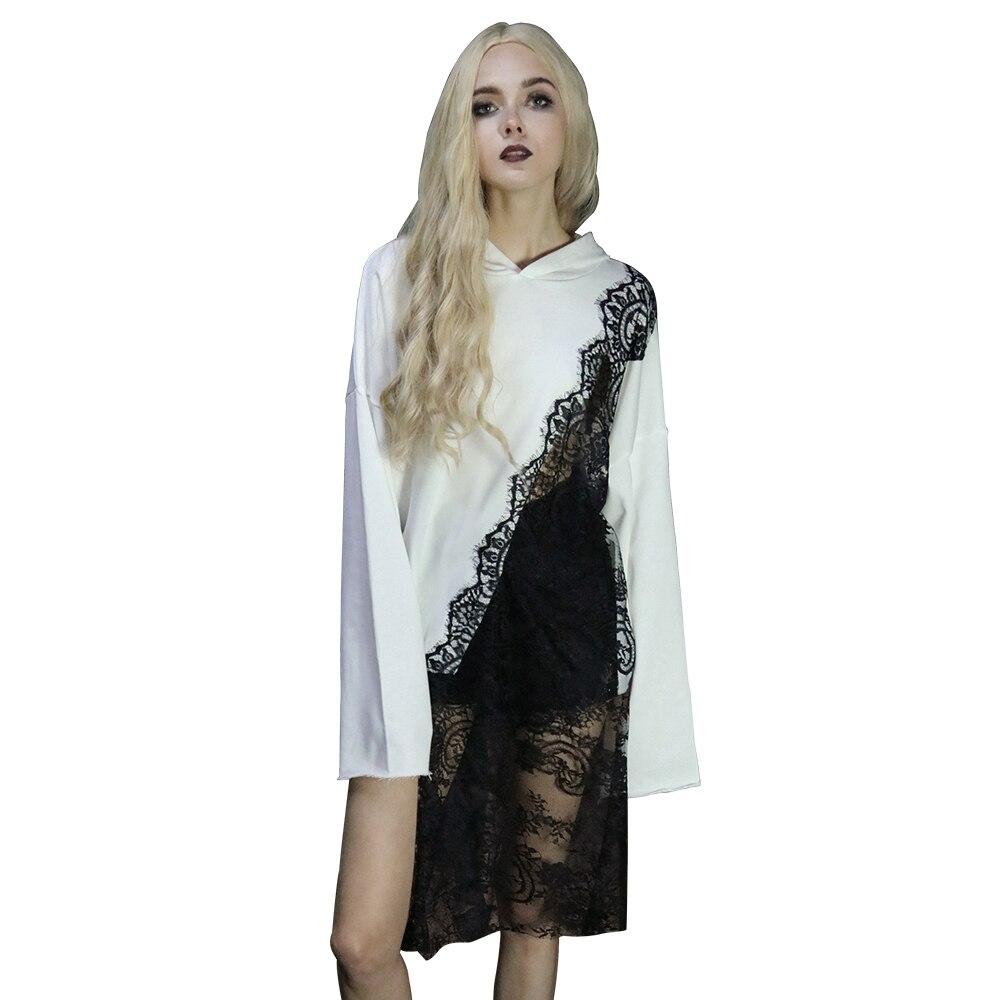 Streetwear vestes à capuche femmes blanc noir dentelle Patchwork pulls à capuche mode asymétrie Seethrough Hoddies nouveau