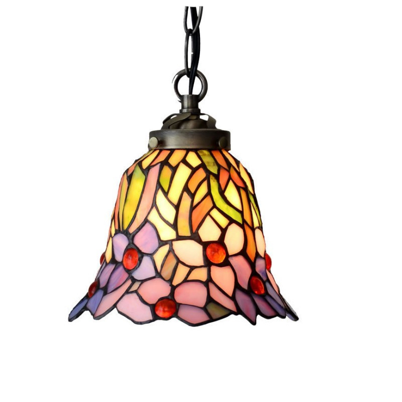 European Rustic Garden Stained Glass Small LED Hang Pendant Lamp Light Metal Chain Modern Kitchen Island Tabletop E27 Lighting