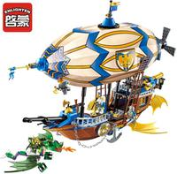 Enlighten 2316 War of Glory Castle Knights Sliver Hawk Balloon Ship Building Blocks 669pcs Educational Bricks Toys gift For Boy