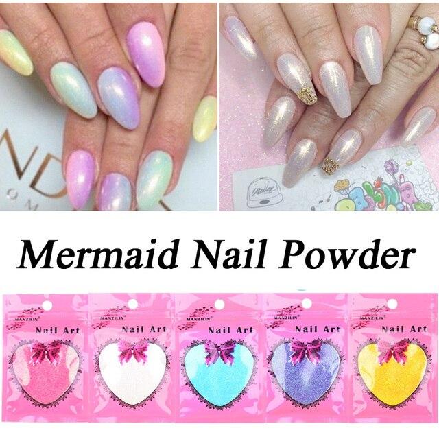 Fashion 10g/bag Mermaid Mirror Effect Powder Nail Chrome Pigment Magic Dust Powder Laser Silver White Nails Decorations