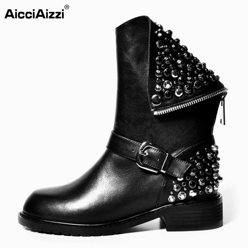 Real Genuine Leather Boots Rivet Square Heels Autumn Winter Ankle Boots Sexy Martin Fur Snow Boots Shoes Woman Size 34-39 N00105 new high quality genuine leather boots rivets square heels autumn winter ankle boots sexy fur snow boots shoes woman size
