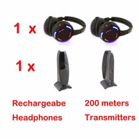 Silent Disco RF Wireless Headphones With 200m Distance Transmitter 3 Channel LED Rechargeable With Flashing LED