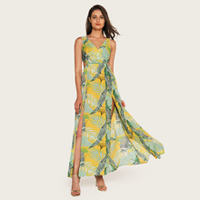 Wasteheart Summer Green Women Long Dresses Printed Backless V Neck Holiday High Leg Sexy Plus Size Sundress Beach Style