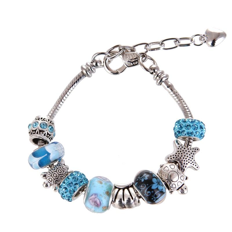 High Quality Glass Heart Cute Pretty Blue Charm Bracelet Pandora Bracelet For Women Gril gift jewelry Drop Shipping