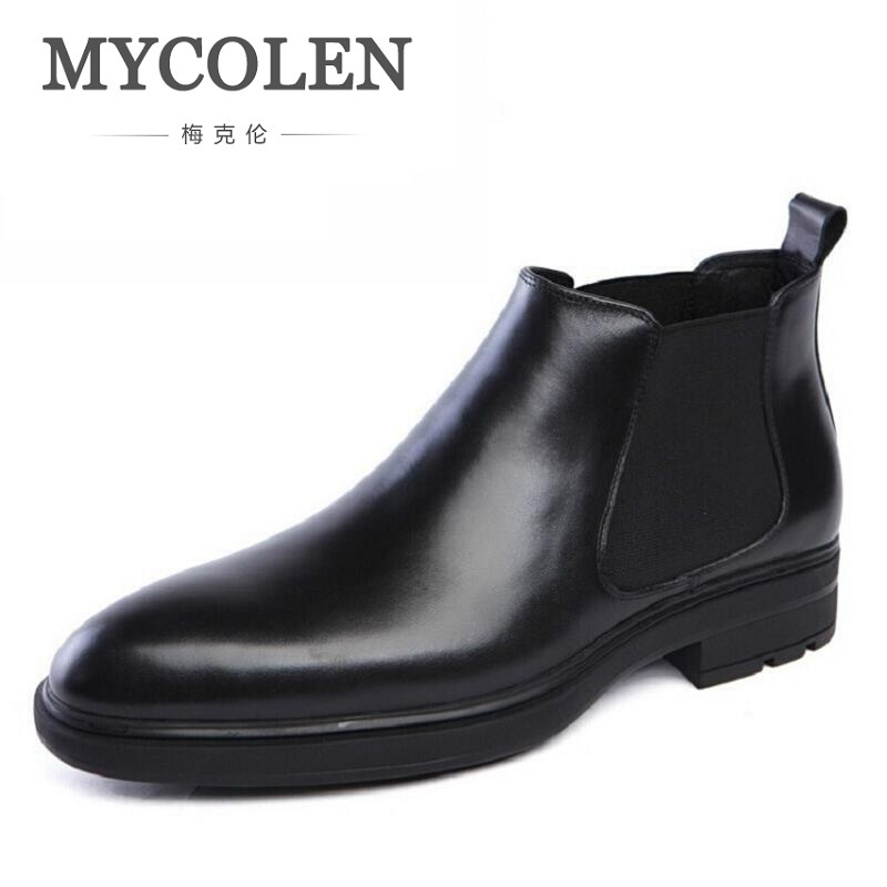 MYCOLEN Luxury Famous Men Winter Boots Quality Genuine Leather Boots Men Business Slip On Shoes Men Ankle Boots tenis masculino стул sheffilton sht s39 кофейный темный орех