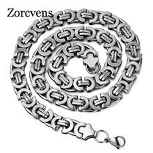 ZORCVENS New Fashion 10mm wide Men Punk Rock Necklace Stianless Steel silver Color chain necklace for Men(China)