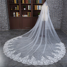 2019 New Arrival Women Lace Wedding Veil 3 Meters Long Cathedral With Comb One Layer Tull Appliques Bridal Veils