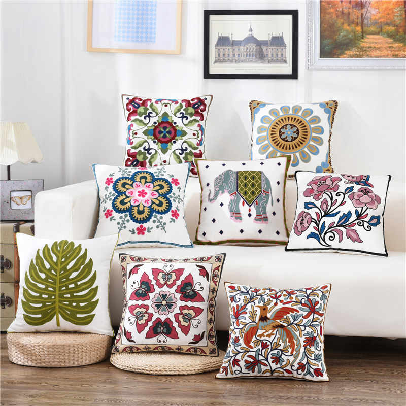 Colorful Flower Butterfly Embroidery Cushion Cover Decorative Pillows 45*45  Throw Pillow Cushions Home Decoration for Sofa Bed| | - AliExpress