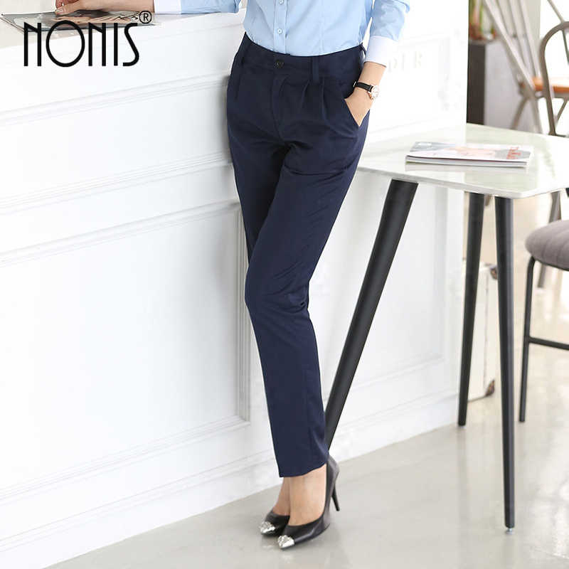 a74577d5cc8 ... Nonis Full length professional business Formal pants women trousers  girls slim work wear office career plus ...