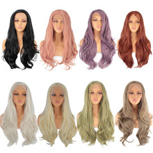 Synthetic Lace Front Wig Long Pink Purple Orange Green White Wigs For Black Women Wave Hair Female Peruca Curly Copper