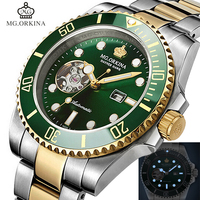 Mechanical Wrist Watches Men Stainless Steel 316L MG.ORKINA Green Automatic Self Winding Mens Watch Waterproof Luminous Clock