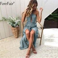 ForeFair Backless Halter Boho Summer Dress 2018 New Fashion Women Split Bow Long Dress