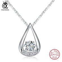 купить ORSA JEWELS 925 Sterling Silver Pendant Necklaces For Female AAA Zircon Water Drop Shape Pendant Luxury Party Jewelry Gift OSN40 в интернет-магазине