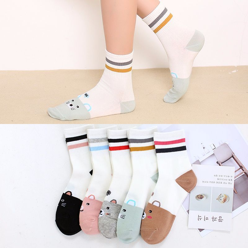 Warm Rainbow Women Cat Cotton Ankle Socks Classic Stripe Casual Fashion Female Retro Socks Popular 6 Color 1pair=2pcs Ws181