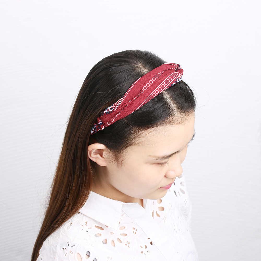 แฟชั่นผู้หญิงถักดอกไม้ Headbands หญิงดอกไม้พิมพ์ผ้าไหมซาตินผ้า Hairbands Elastic Cross อุปกรณ์เสริมผม