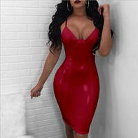 SEXY V Neck Strappy Wrap Pu Leather Dress 2018 Black Red Apricot Bodycon Sheath Spaghetti Strap