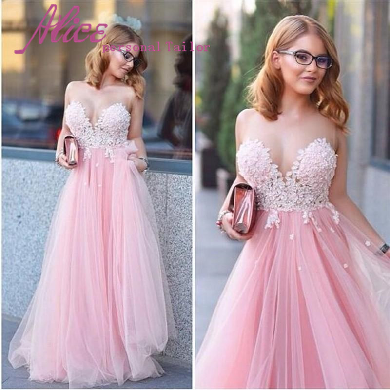 Baratos W030 Vestido De Festa lindo rosa largo De tul Prom vestidos ...