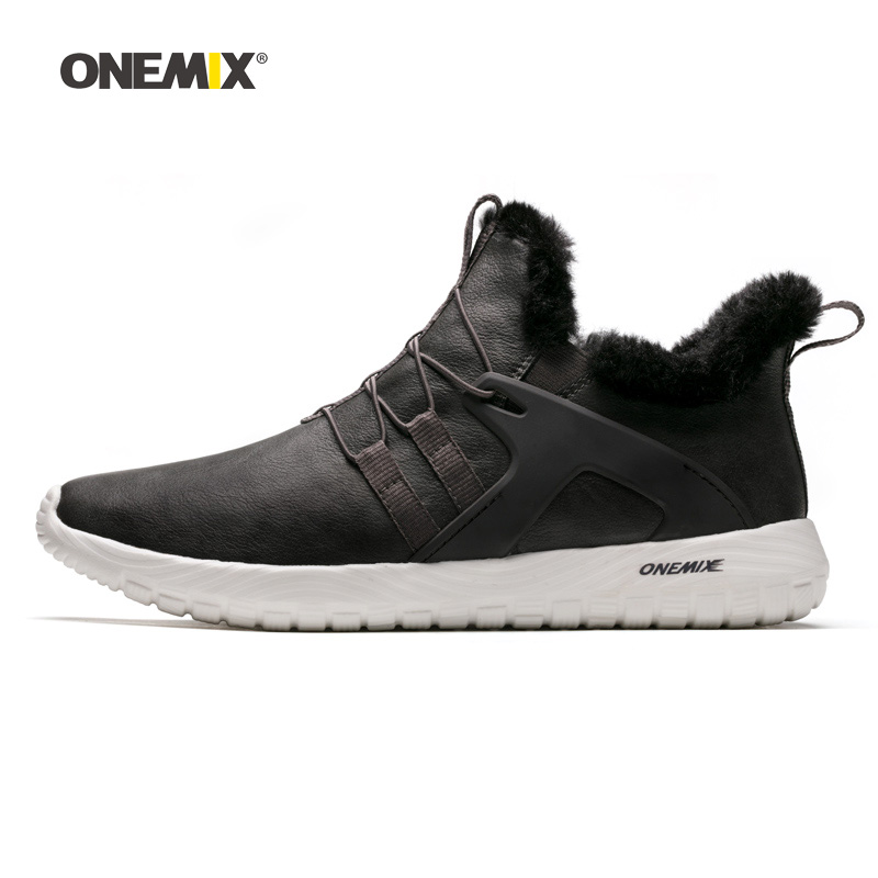ONEMIX Men Winter Walking Shoes Soft Comfort Waterproof Outdoor Warm Snow Boots Gray Male Tennis Sports Trainers Trail Sneakers-in Walking Shoes from Sports & Entertainment    1