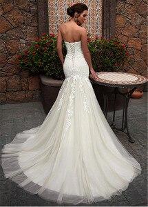 Image 3 - Dantel Sevgiliye Boyun Çizgisi Mermaid düğün elbisesi Dantel Aplikler Tül Gelin Elbise vestidos de noivas