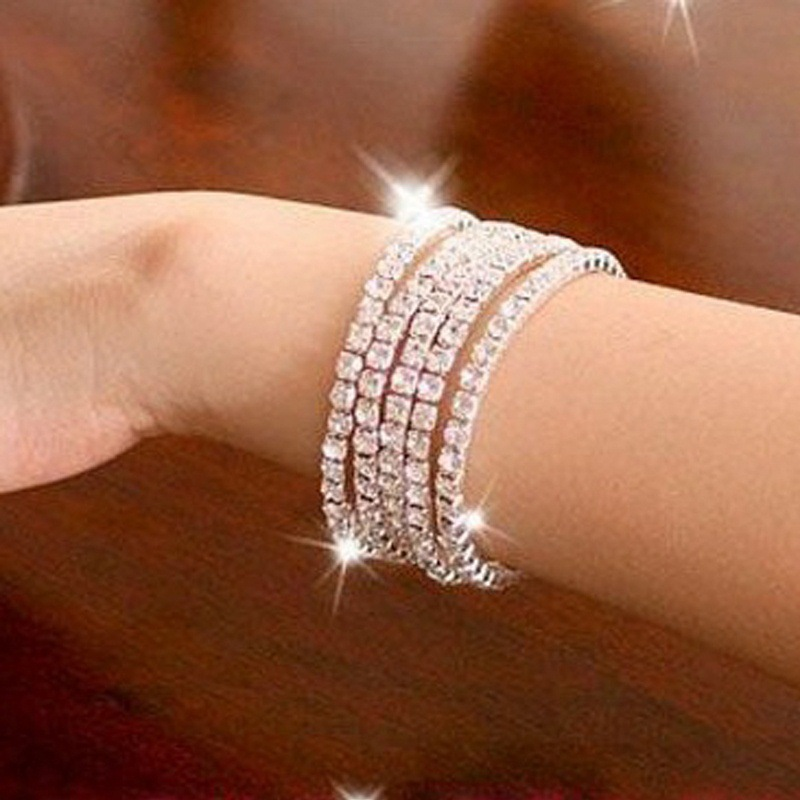 Moda 1-10 fila Brillante Rhinestone Elástico Lady Bangle Stretch Crystal Brazalete Pulsera Fit Party Prom Boda Novia Joyería Regalo