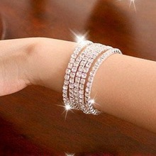 fashion 1-10 row Shiny Rhinestone Elastic Lady Bangle Stretch Crystal Bangle Bracelet Fit Party Prom Wedding Bride Jewelry Gift