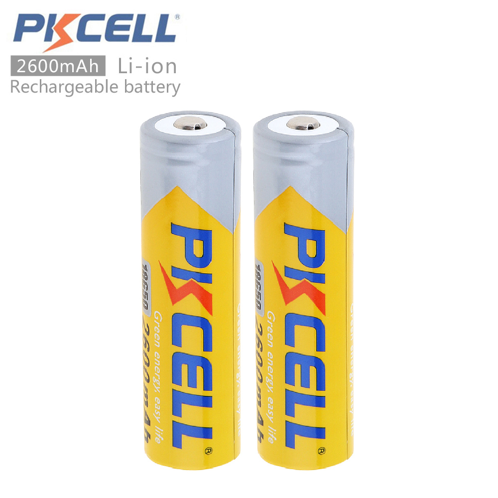 2pcs PKCELL 3.7V 18650 2600mAh Li-ion Rechargeable Battery with Discharge Protection Circuits for LED Flashlights / Headlamps стоимость