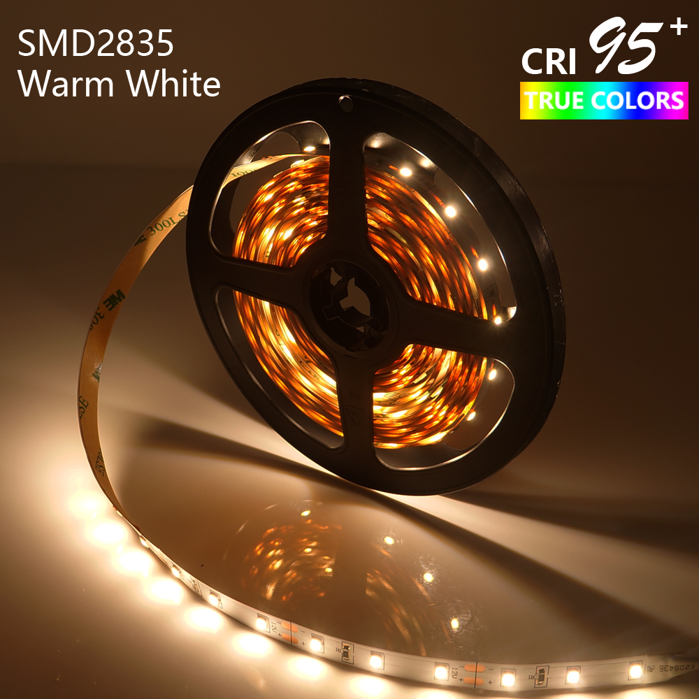 LED Strip Light High Extended CRI95 Warm White 3000-3500K SMD2835 5M 300LEDs DC12V 14.4W Dimmable 8mm PCB Non-Waterproof недорого