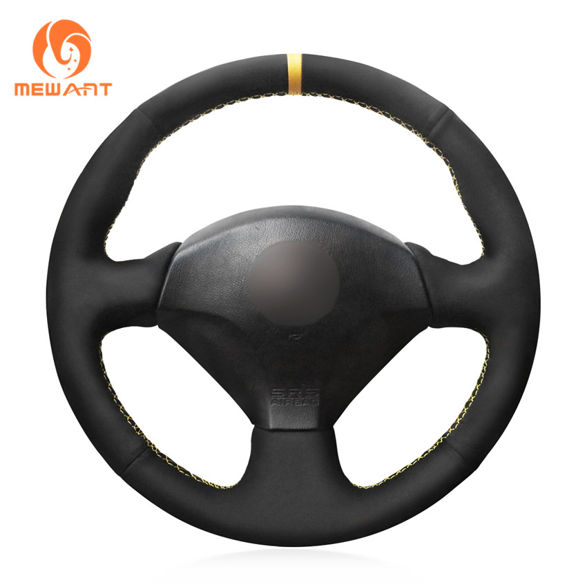 MEWANT Black Suede With Yellow Marker Steering Wheel Cover for Honda S2000 2000 2008 Civic Si