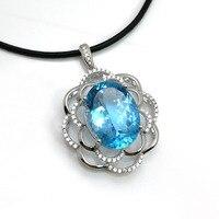 2018 Новый сверкающих 21ct натуральный камень голубой топаз кулон кожаный аккорд ожерелье серебра 925 ювелирных украшений для женщин лучший под