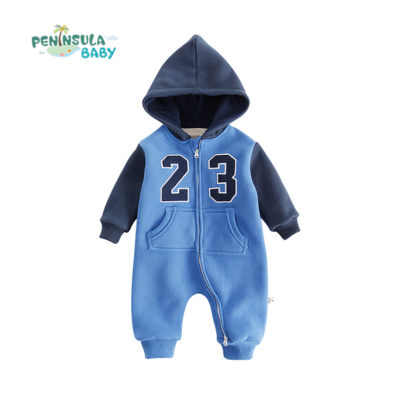 Brand Baby Rompers Newborn Baby Clothes Casual Sport Infant Fleece Long Sleeve Jumpsuits Boy Girl Warm Winter Clothes Wear cartoon fox baby rompers pajamas newborn baby clothes infant cotton long sleeve jumpsuits boy girl warm autumn clothes wear