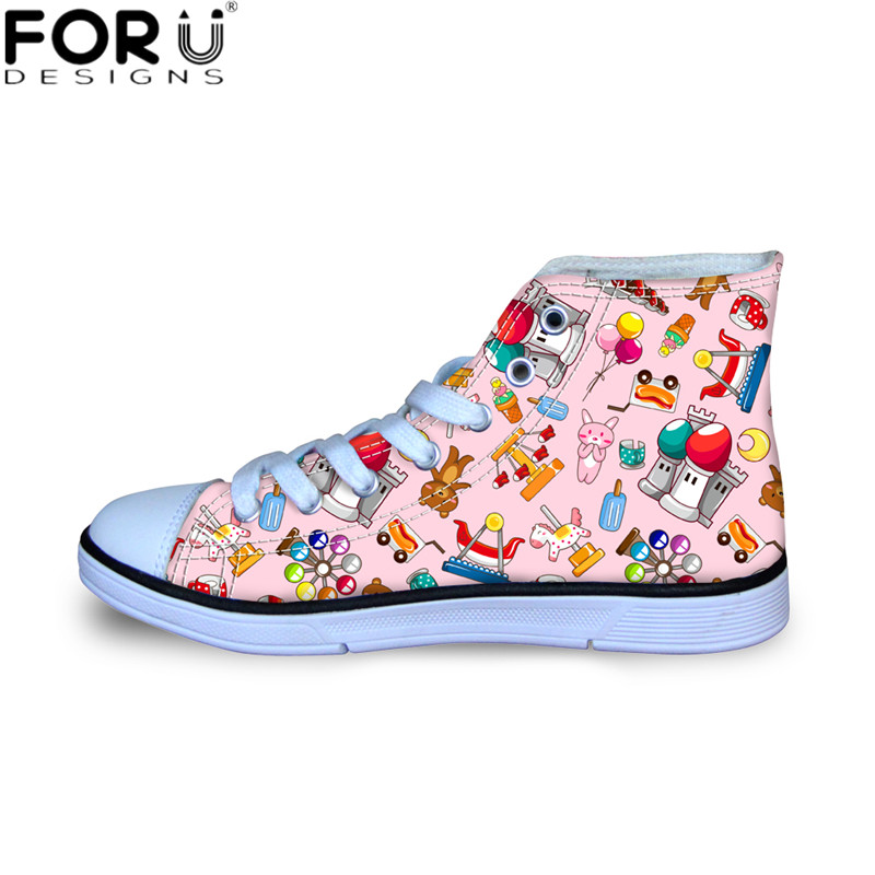 все цены на FORUDESIGNS Fashion Child Flats Cute Cartoon Toys Print Breathable Mesh Sneakers Shoes for Kids Girls Boys High Top Canvas Shoes