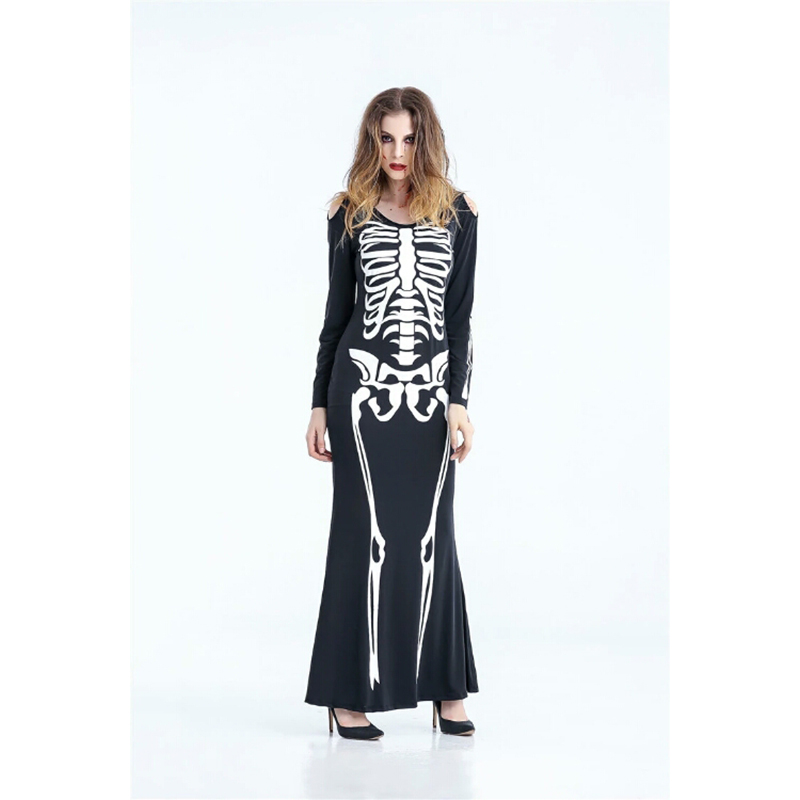 2018 New Premium Ghost Festival Terror Costume Sexy Adult Woman Black Dress Skeleton Costume Halloween Goth Costume