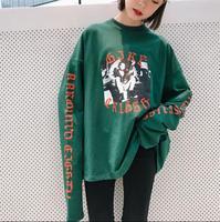 Harajuku Bf Long Section Round Neck Collar Super Long Sleeve T Shirt Female Loose Korean Version